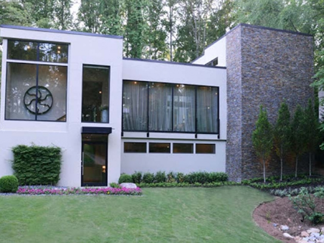 Modern architecture using stucco siding