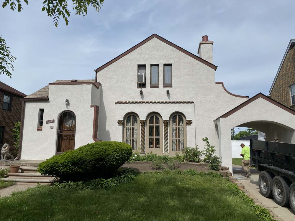 House in Michigan with stucco siding